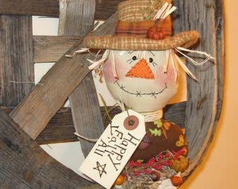 Happy Fall Y'All, Scarecrow Shelf Sitter, Scarecrow Fall Decor, Autumn Scarecrow Decoration,Whimsical Scarecrow, Prim Scarecrow Shelf Sitter