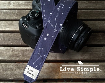 DSLR Camera Strap Blue Constellation | Accessories | Soft Cotton | Live Simple®