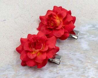 Orange Red Rose Hair Clip, 2 inch, Fabric   Flower Hair Clip,   Metal Clip, One Pair