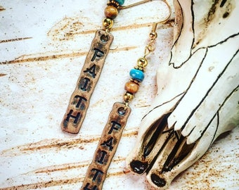 Hammered earrings/southwestern earrings/Christian earrings/faith earrings/boho earrings/tribal earrings/dangle earrings/hippie earrings