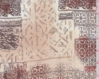 Beige/Sienna Scroll Tile Georgette, Fabric By The Yard