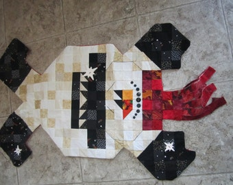 "Snowman skating quilted wall hanging measures 40 x 17 1/2 "". Hang it for the holidays or leave up for the winter months."