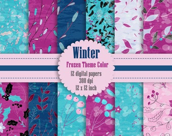 12 Winter Floral Digital Papers 12 inch, Instant Download, High Resolution 300 Dpi, Commercial Use