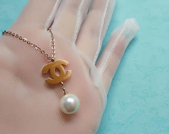 CC pearl necklace titanium steel long chain charm bead rose gold