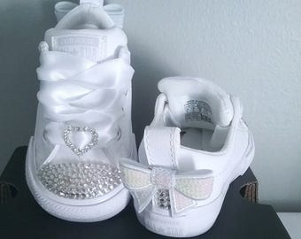 All White Converse, Baby Infant Toddler, Toes and Backs, Leather Sneakers, No Stripes, Satin Ribbon Ties, White Bows, Sizes 2-10 real ties