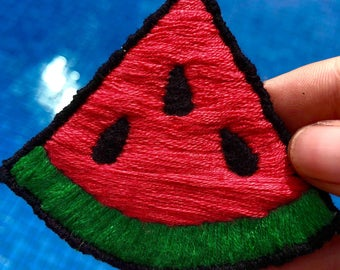 Watermelon Hand Embroided Iron On Patch