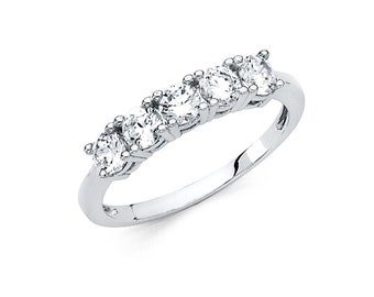 14k Solid White Gold 1.25 Ct Diamond Classic Traditional Wedding Band Ring