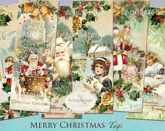 Merry Christmas BOOKMARKS - Digital Collage Tags -Collage Tags - Hang Tags - Vintage Collage Images - gift Tags, scrapbooking, mix media