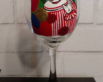 Hand Painted John Wayne Gacy Wine Glass - Pogo the Clown