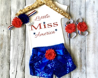 Little Miss America outfit, miss america 4th of july outfit, girls fourth of july outfit, miss america, blue sequin shorts, 1st fourth july