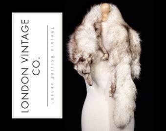 Vintage 1930's/1940's/1950's white/arctic/polar/blue fox real fur taxidermy stole/wrap/shawl/collar.Vintage costume/ww2/soft mount/antique