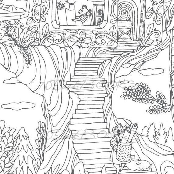 Animal friends and their wonderful home in the woods coloring