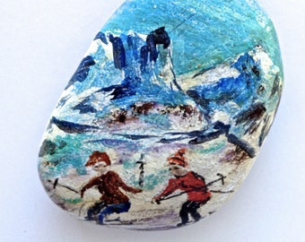 Painted Stone, Love Stone by Edith Haines, Skiers on a Slope, Paperweight, Vintage Painted Pebble, Stone Art