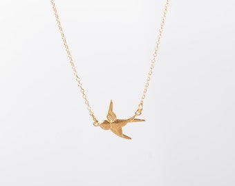 Fine Gold Necklace Swallow Bird Necklace Golden Birdy Necklace Anchor Gold Plated