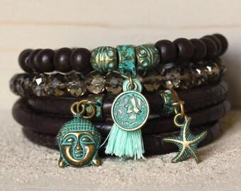Moederdag, Muttertag, Muttertag, Holz Ibiza Armband, Boho Armband, Türkis-Armband, Buddha Armband, Perlen Armbänder, Frauen Armband