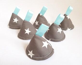 Grey & White Stars. Pee Pee TeePee x 6 // Sprinkling Wee Wee Wigwam // Baby Shower, Gift Idea. Newborn Boy.