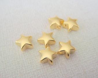 Star Pendant, Matte Gold Finish Tarnish Resistant Small Star Pendant, Small Star Connector, Earring Findings, 2 pc, PL900321