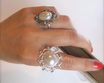 Button Ring Vintage style . Diamond shape Silver&white pearl Boho shabby chic victorian statement jewelry Bridal Ring Bridesmaids gifts.