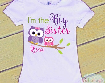 I'm the Big Sister Owls Bodysuit or Tshirt - Girl Shirt or Bodysuit - Personalized