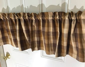 Waverly Brown and Tan  Buffalo Check large print Curtain Valance 54 wide