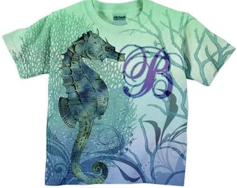 Girls Seahorse Shirt, Toddler Monogram T-Shirt, Childs Nautical Top, Children's Clothing