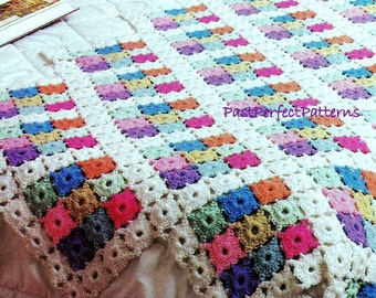 INSTANT DOWNLOAD PDF Vintage Crochet Pattern for Pastel Medallions Granny Squares  Afghan Throw Blanket  Retro