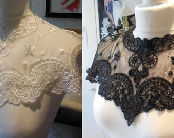 A Black or off white bridal floral lace collar applique / tulle lace collar motif is for sale. Sold by per piece