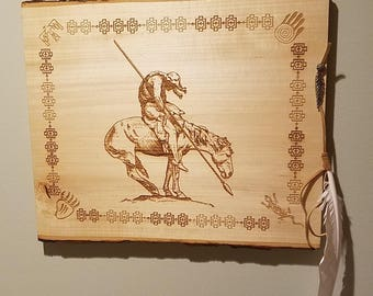 Laser Engraving, End of the Trail, Native American, Wall Art, Indian on Horse, Native American Horseback, Western, 5th Anniversary Gift