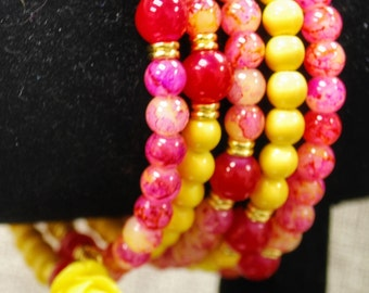 Pinks Yellows and a Rose Memory Wire Bracelet