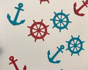 marine theme table confetti