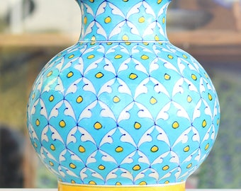 Authentic Handcrafted Decorative Jar - Jaipur Blue Pottery