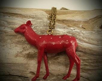 Bronze Necklace with Red deer