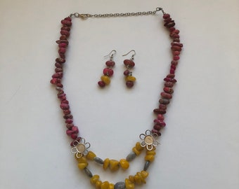 Yellow agate and pink jasper statement necklace, Spring necklace, Easter gift, Colorful necklace, Gift for women, Unique statement necklace