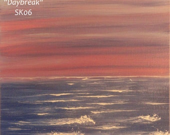 """Ocean Sunrise Painting on Canvas, pink, blue, purple, 11 x 14, """"Daybreak"""", SK06 FREE SHIPPING"""