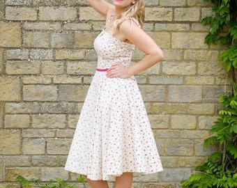 Handmade strappy rose print dress. Vintage inspired, full circle skirt.