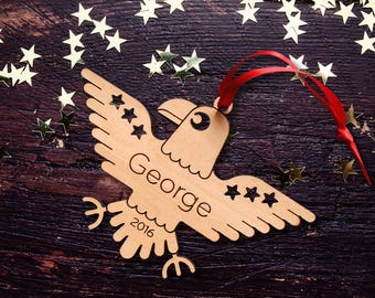 Wooden Bald Eagle Christmas Ornament: Patriotic USA American Eagle, Personalized Name, Boy or Girl