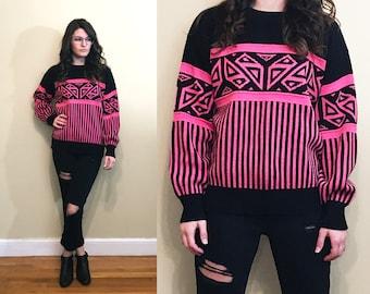 Vintage 1980's Bright Vibrant Neon Pink and Black Geometric Stripe Patterned Ski Sweater Size M