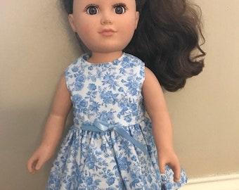 "18"" Doll Blue Flower Dress"