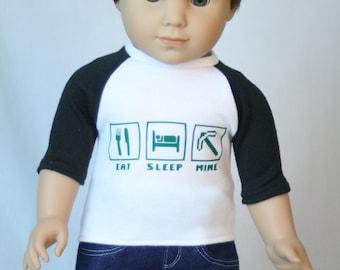 "Eat Sleep Mine T Shirt, 18"" Boy Doll Clothes, Fit American Boy Doll,  18 inch Doll Clothes, 18 inch boy doll, made to fit American Boy Doll"