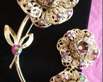 Vintage Sarah Coventry Filigree Aurora Borealis Rose Brooch and Clip-on Earrings, 1960's