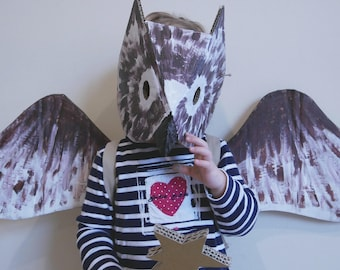 Mask and wings of an OWL painted or personalized