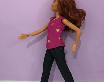 Handmade doll clothes to fit barbie:   jeans and top.  Clothing fits 11.5 inch doll