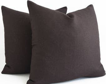 ANY SIZE  Solid Brown Linen Decorative Pillow ALL Sizes Home Decor Accent Pillow Modern Cushion Cover Brown Pillow Couch Pillow