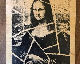 Mona Lisa Mosaic Collage Wood Mounted Rubber Stamp