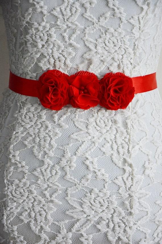 Cinturón fajín rojo novia flores de gasa para vestido de