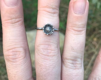 Sunflower Stacking Ring. Sterling Silver Stacker. Boho jewelry. Moonchild Jewelry. Sunflower Stacker.