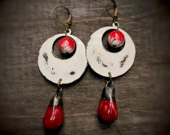 Red, white, and bronze upcycled vintage hoop drop handmade assemblage earrings, Christmas Xmas Holiday Gift, recycled green eco jewelry,