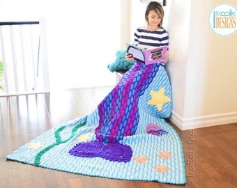 CROCHET PATTERN Mica the Mermaid and Jellyfish Blanket PDF Crochet Pattern with Instant Download