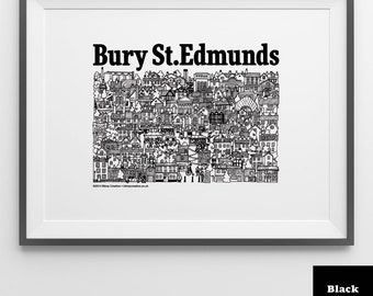 Bury St.Edmunds Illustrated Screen Print (Various Colours)