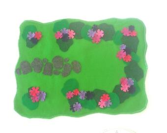 Flower Park Play Mat -Felt Play Mat - Woodland Fairy Felt Mat - Doll House Yard